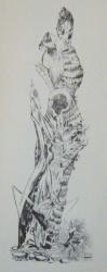 la mante religieuse 1961-pointe seche 52x18cm