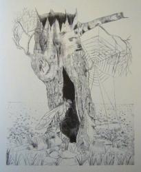 le tronc d arbre 1960-pointe seche 26x20cm