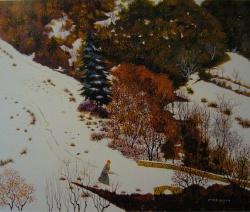 le pont de Lanet sous la neige 1985-60x73cm