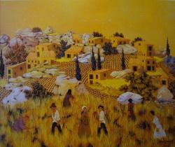l or dans le village 1985-60x73cm