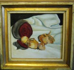 Oignons et betteraves, 1955, oil painting on wood