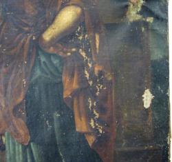 """""""Bergers d'Arcadie"""", anonyme, copie d'après Nicolas Poussin, environ 1860-70, avant restauration"""