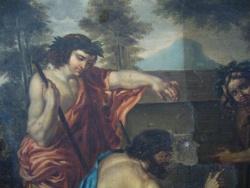 """""""Bergers d'Arcadie"""", anonyme, copie d'après Nicolas Poussin, environ 1860-70, nettoyage de la couche picturale"""