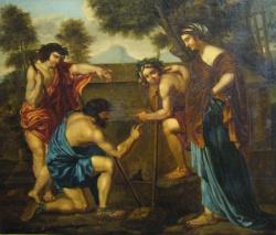 """""""Bergers d'Arcadie"""", anonyme, copie d'après Nicolas Poussin, environ 1860-70, réintégration de la couche picturale"""
